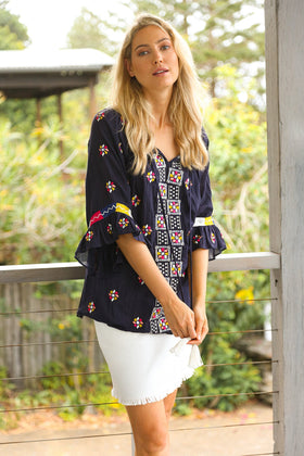 Adella Shift Top in Tulum Navy