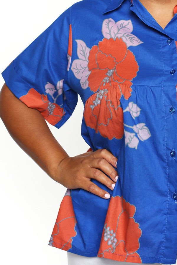 Aimee Collared Top in Orange Begonia