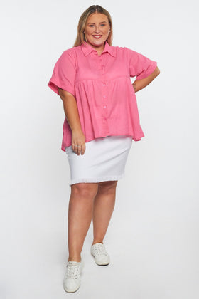 Aimee Collared Top in Pink