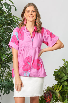 Aimee Collared Top in Pink Begonia