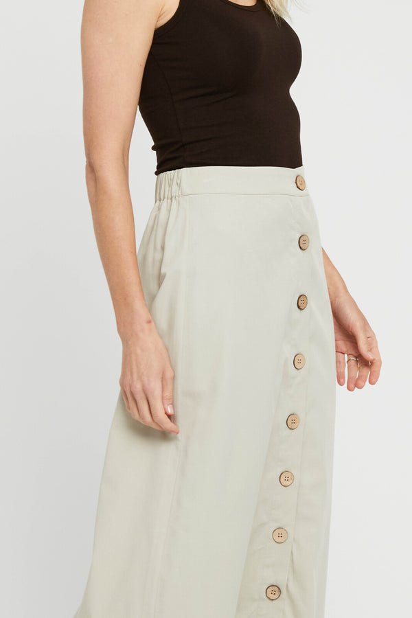 Woven Button Skirt