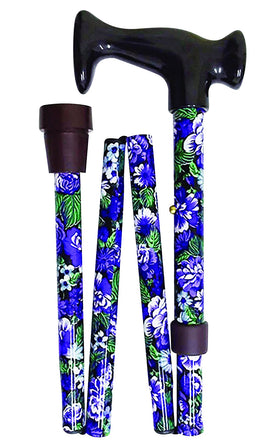Folding Walking Stick Purple & White Floral 82-92cm