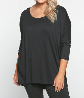 High-Low Shift Top in Black