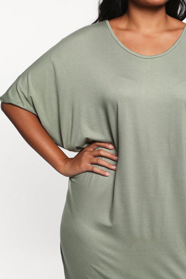 Batwing Sleeve Dress in Sage