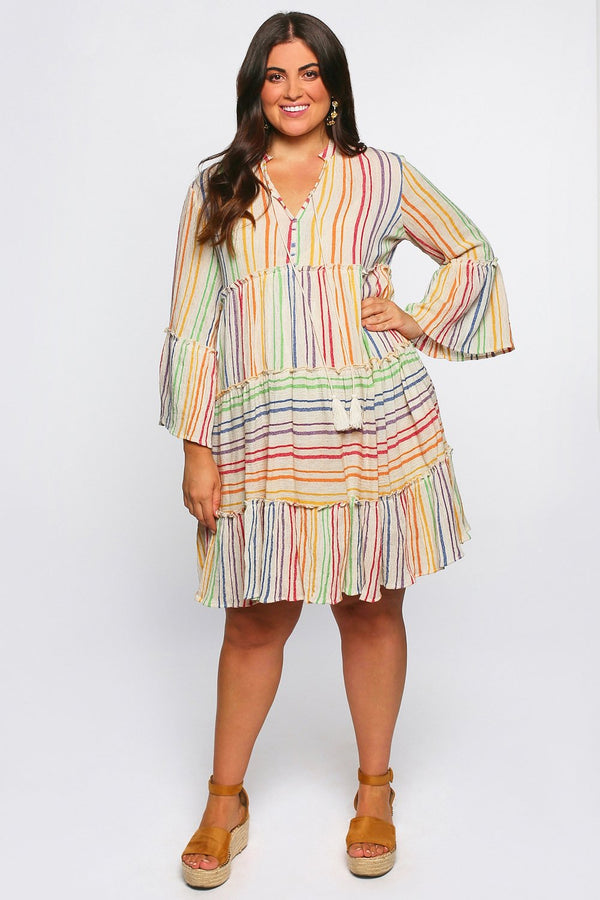 Blythe Peasant Dress in Rainbow