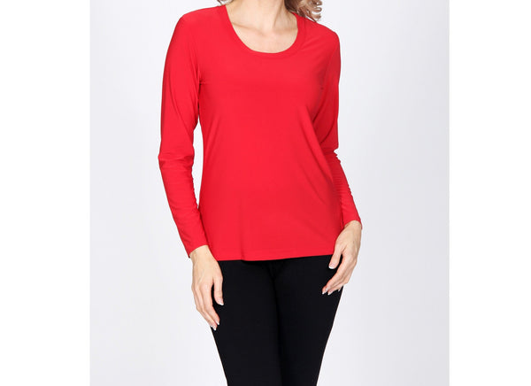 Long Sleeve Tubular Top - Red