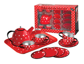 Red Polka Dot Black Trim Tin Tea Set 15 Pcs