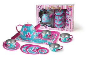 Pink Flower Tin Tea Set
