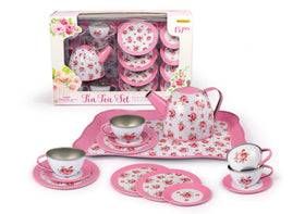 Pink Rose Tin Tea Set 15 Pcs