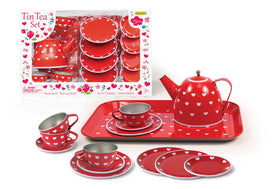 Red Heart Tin Tea Set