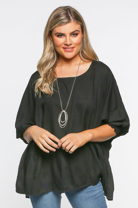 Cherie Oversized Top in Black