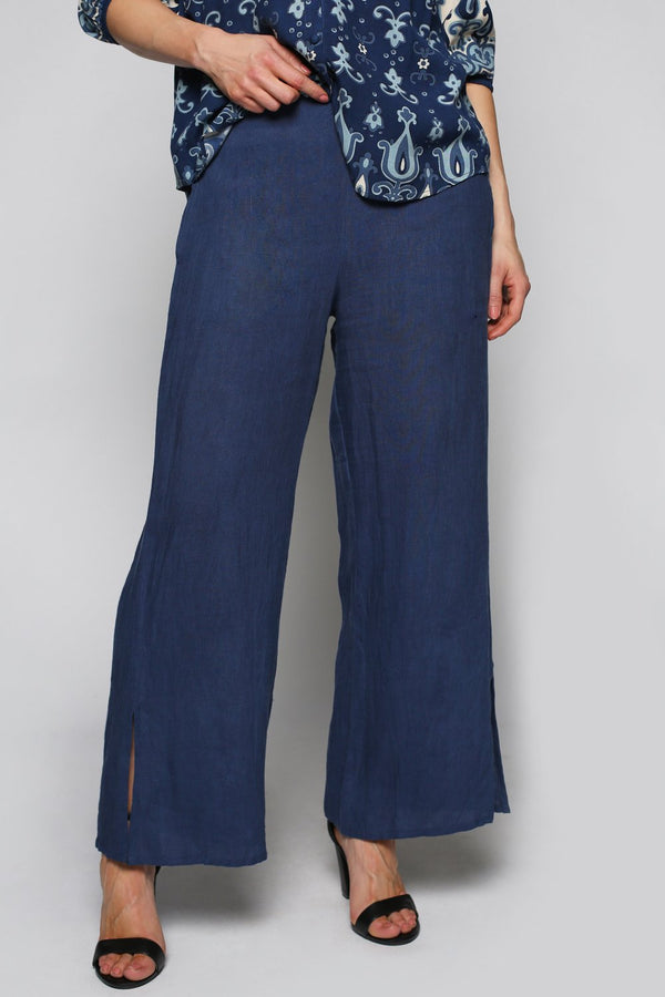 Camille Wide Leg Pant in Dark Blue