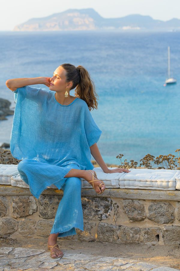 Cherie Linen Top in Blue