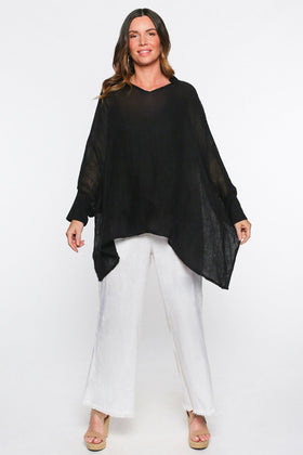 Cherie Linen Top in Black