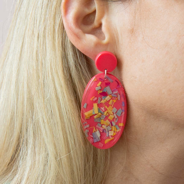 Confetti Disc Drop Earrings (3 Colours Avail)
