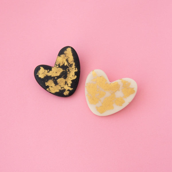 Gold Foil Heart Brooch (2 Colours Avail)