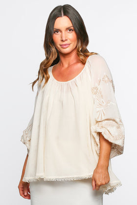 Emila Embroidered Top in Impala Empire