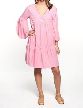 Everly Billow Sleeve Dress in Candy