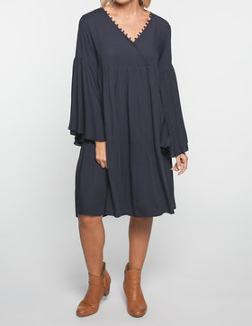 Everly Billow Sleeve Dress in Navy