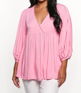 Everly Billow Sleeve Top in Candy