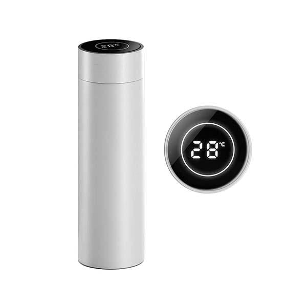 Soga 500Ml Stainless Steel Lcd Thermometer Display Flask Thermos White