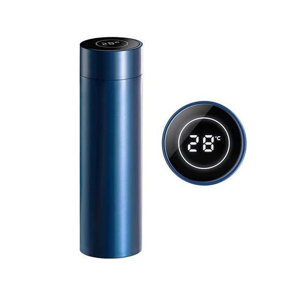 Soga 500Ml Stainless Steel Lcd Thermometer Display Flask Thermos Blue