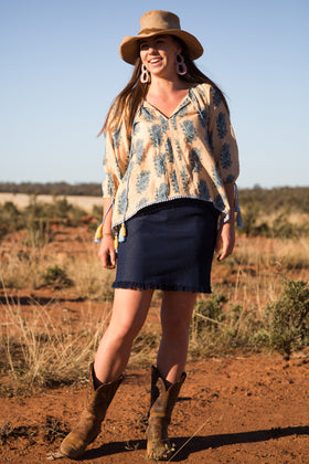 Faith Peasant Top in Tuscan Sun