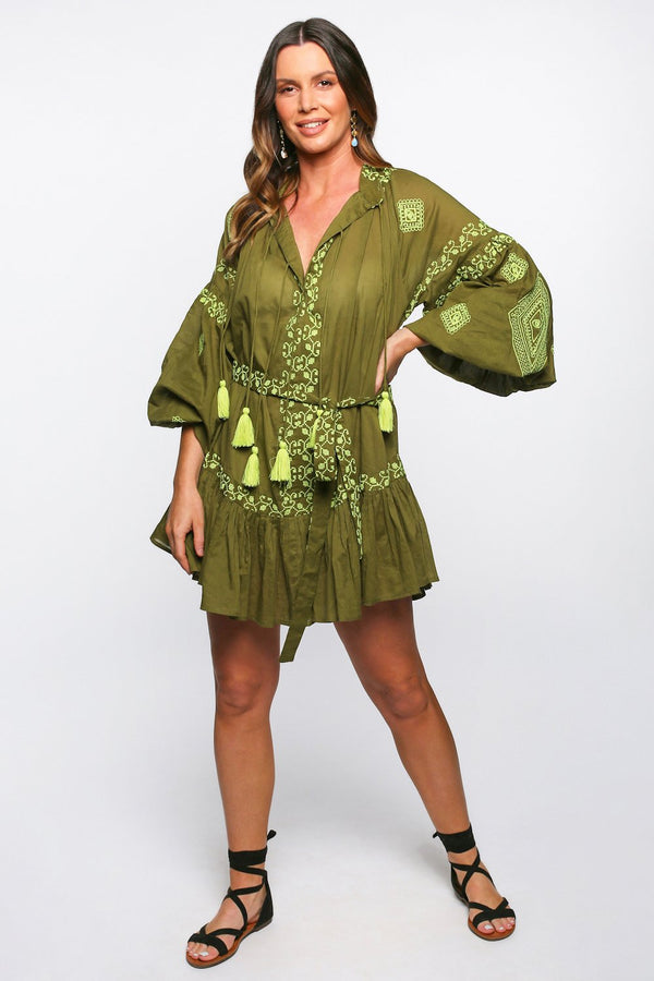 Fantasia Embroidered Dress in Green