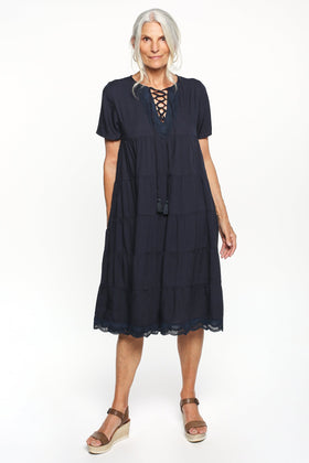 Fawn Sleeved Tiered Dress in Navy