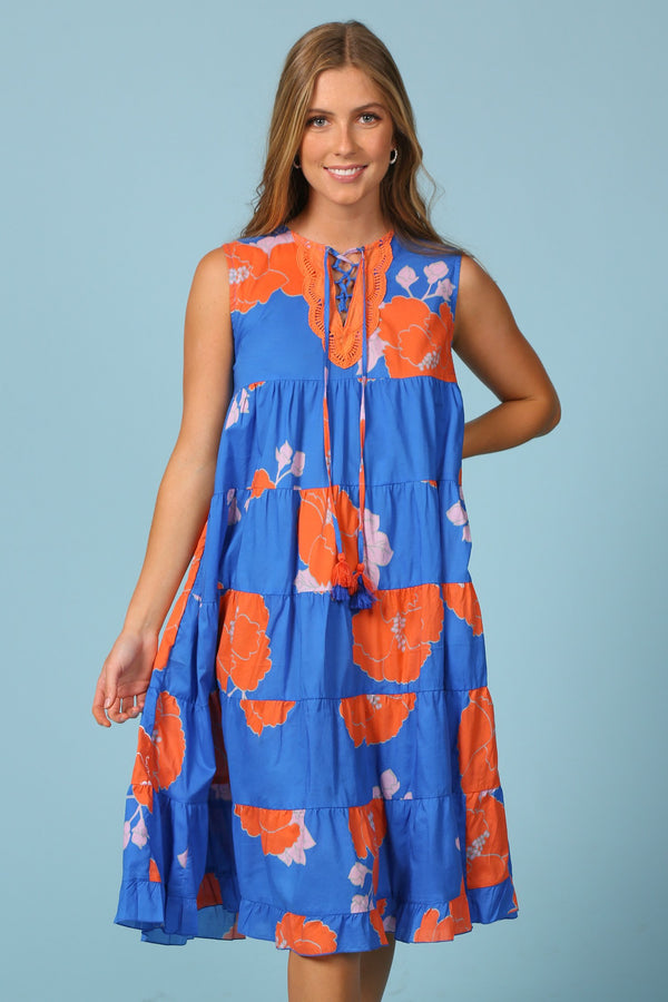 Fawn Tiered Dress in Orange Begonia