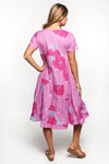 Fawn Sleeved Dress in Pink Begonia