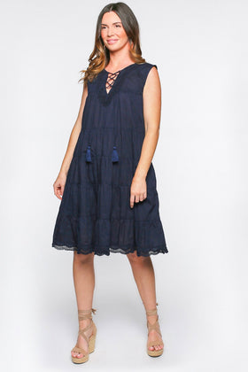 Fawn Tiered Dress in Navy