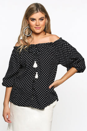 Frederika Top in Spotted Black