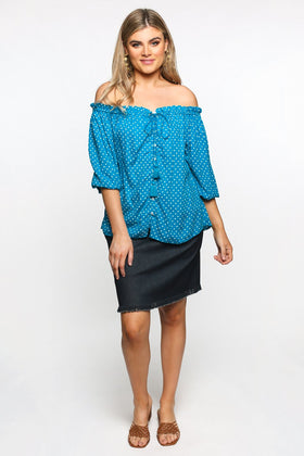 Frederika Top in Spotted Blue