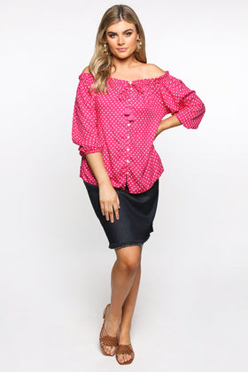 Frederika Top in Spotted Pink
