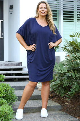 Batwing Sleeve Dress in Navy