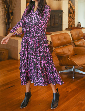 Gia Frill Dress in Zambia Fuchsia