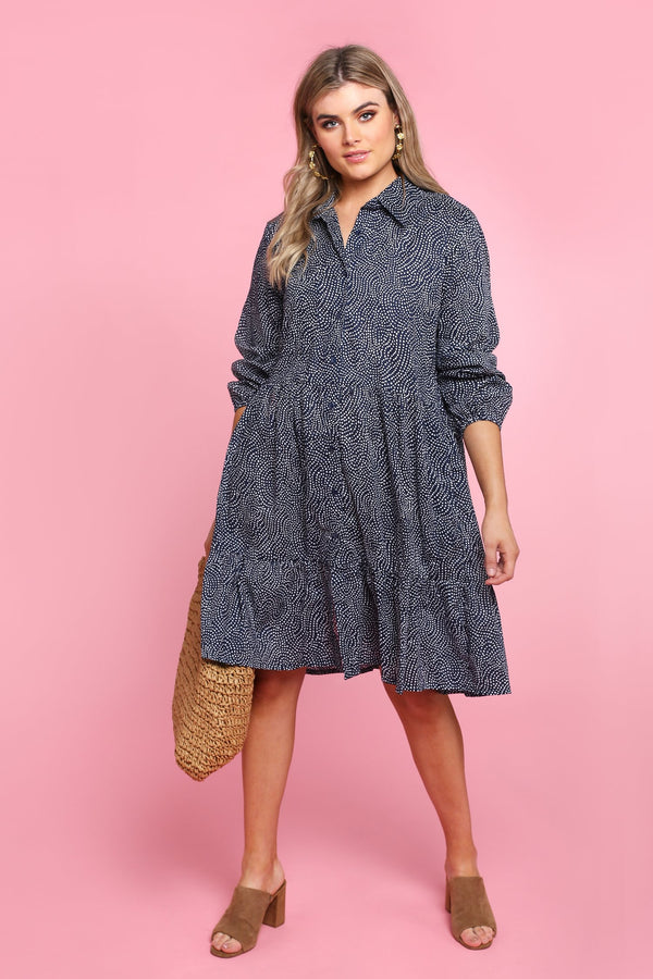 Ginette Button Down Dress in Cosmos