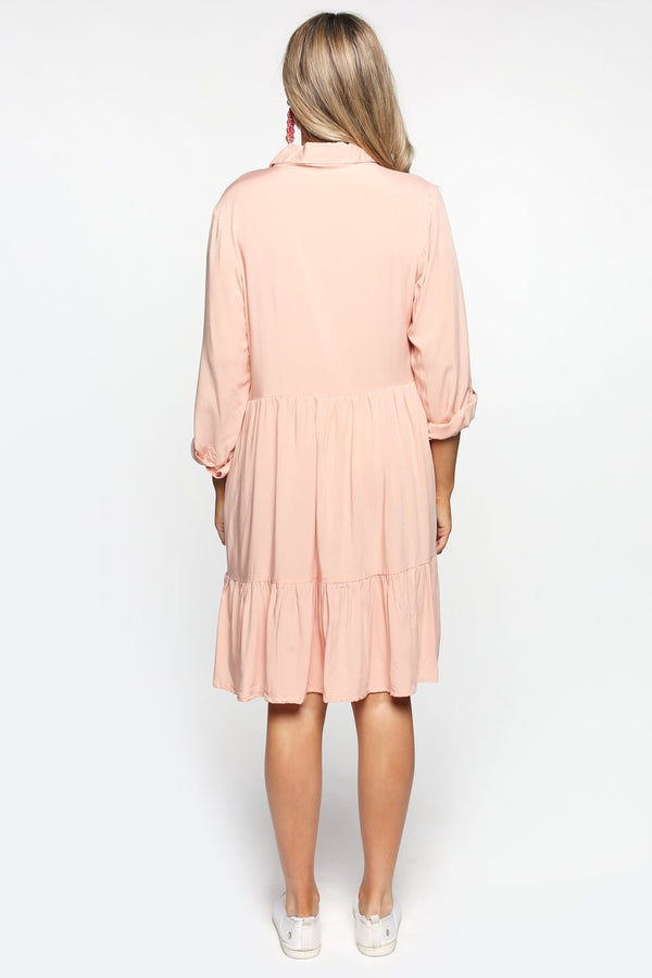 Ginette Button Down Dress in Peach Whip