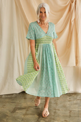 Hettie Shirred Waist Dress in Daylily