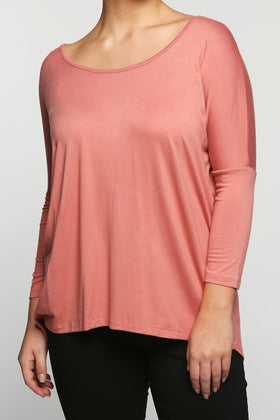 High-Low Shift Top in Faded Rose