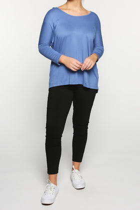 High-Low Shift Top in Dutch Blue