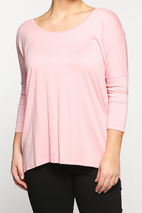 High-Low Shift Top in Coral Pink