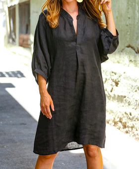Indiana Linen Dress in Black