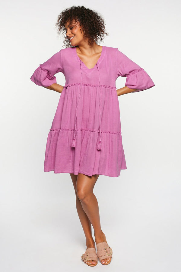 Ingrid Tiered Dress in Spring Pastel Purple