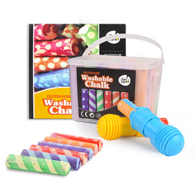 Washable Sidewalk Chalk - 24 Colors Kit With 2 Holders