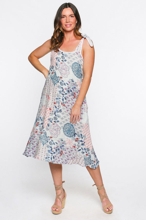 Jelina Linen Midi Dress in Kastro
