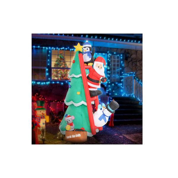 6ft Inflatable Christmas Tree Santa Decorations Outdoor Led Light