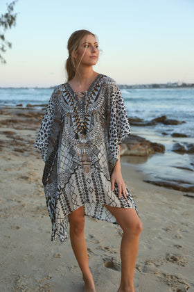 Latasha Short Kaftan in Jungle