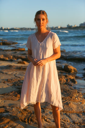 Lawrence Linen Dress in Blush